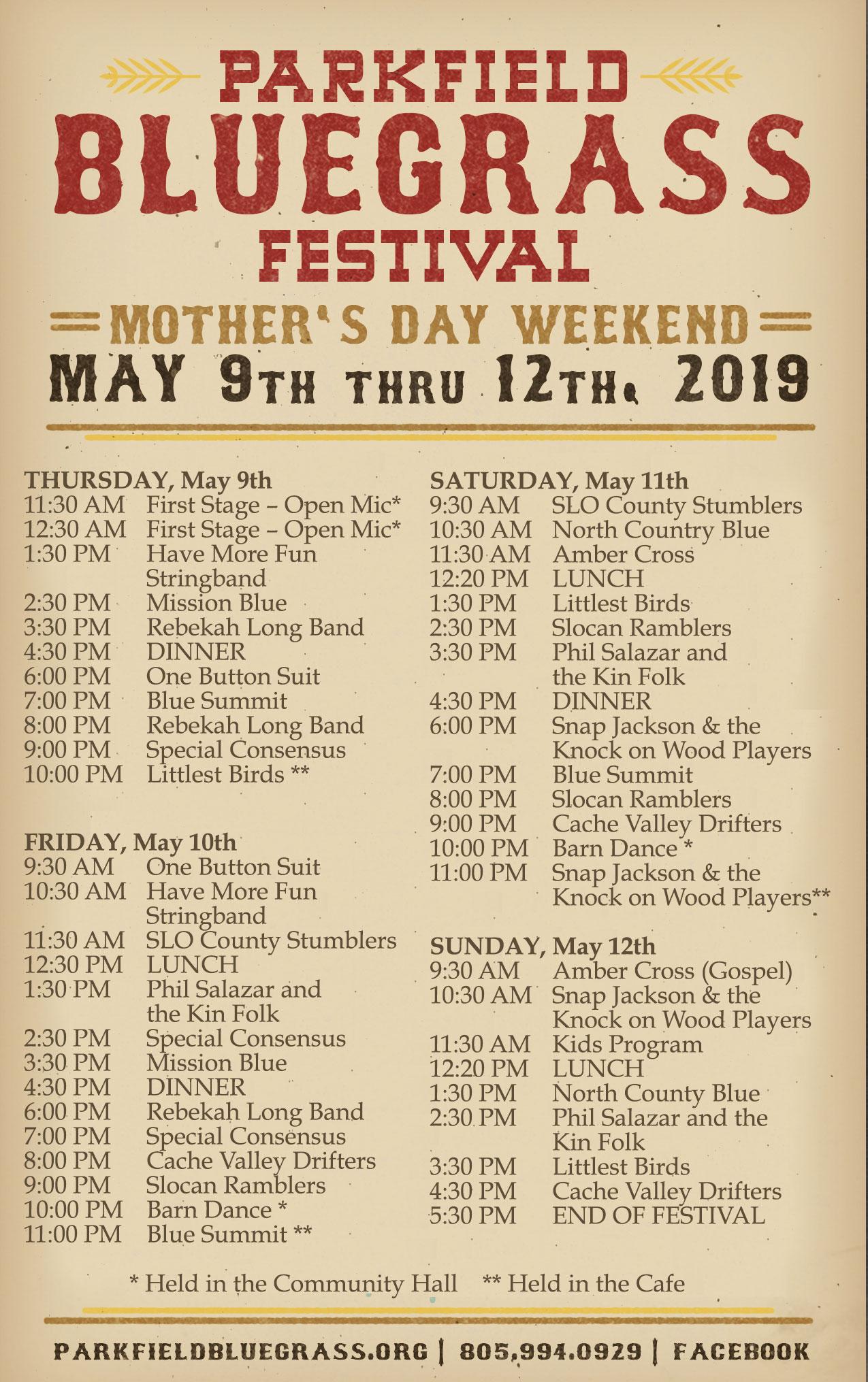 Band Lineup 2019 | Parkfield Bluegrass Festival